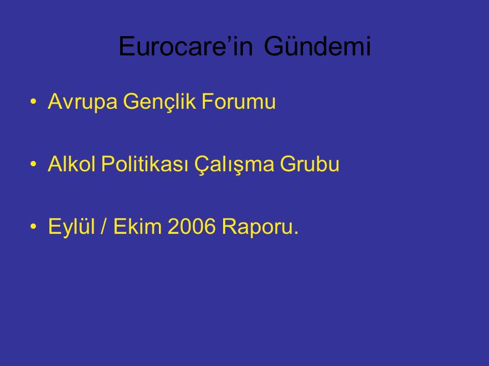 Eurocare'in Gündemi Avrupa Gençlik Forumu Alkol Politikası Çalışma Grubu Eylül / Ekim 2006 Raporu.
