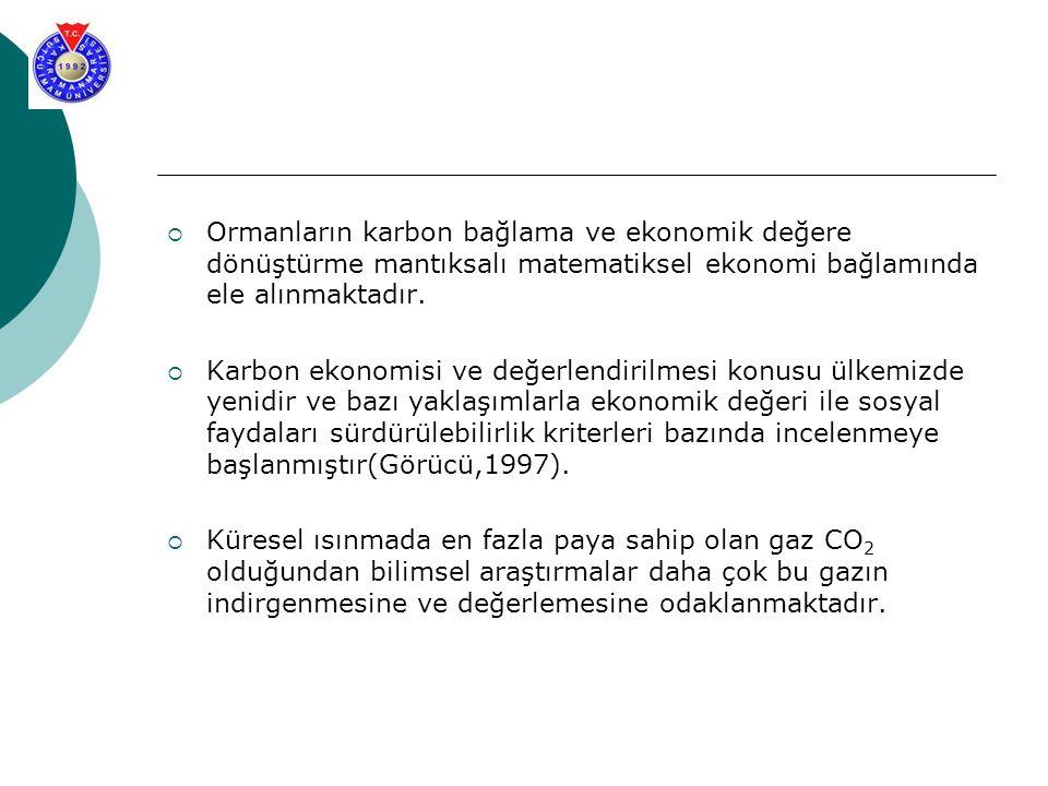  Ormanların karbon bağlama ve ekonomik değere dönüştürme mantıksalı matematiksel ekonomi bağlamında ele alınmaktadır.  Karbon ekonomisi ve değerlend