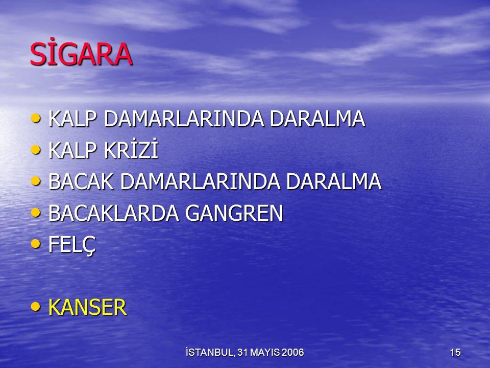 İSTANBUL, 31 MAYIS 200614 SİGARA ÖZENTİ İLE BAŞLANAN VE GÖRSEL YOLLA BULAŞAN BULAŞICI BİR HASTALIKTIR