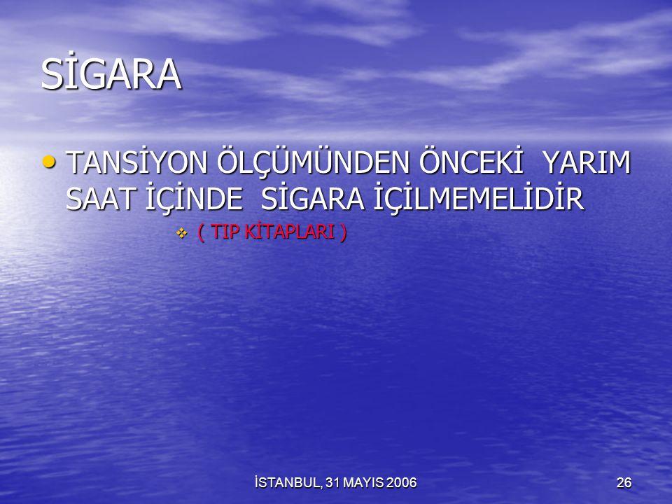 İSTANBUL, 31 MAYIS 200625 DİKKAT TEK BİR SİGARA İÇİLMESİ BİLE KORONER SPAZMINI OLUŞTURABİLİR TEK BİR SİGARA İÇİLMESİ BİLE KORONER SPAZMINI OLUŞTURABİLİR