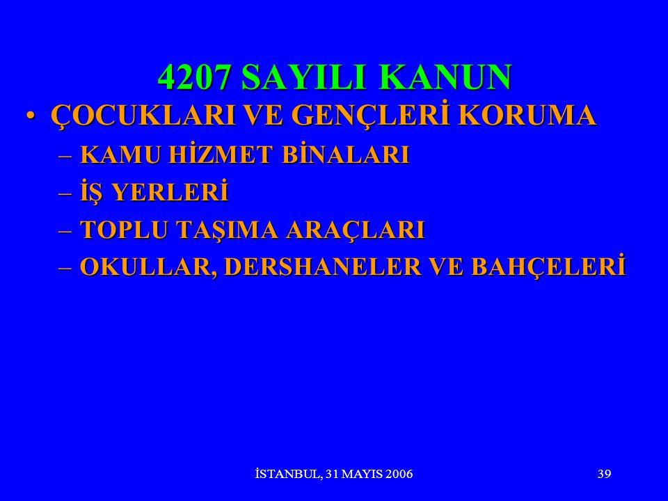 İSTANBUL, 31 MAYIS 200638 4207 SAYILI KANUN MANTIĞIMANTIĞI WHO TÜTÜN KONTROLÜ ÇERÇEVE SÖZLEŞMESİ ( 2004 )WHO TÜTÜN KONTROLÜ ÇERÇEVE SÖZLEŞMESİ ( 2004 )