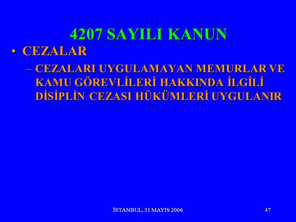 İSTANBUL, 31 MAYIS 200646 4207 SAYILI KANUN CEZALARCEZALAR –18 YAŞINI DOLDURMAYANA SATIŞ: TCK- SAĞLIK İÇİN TAHLİKELİ MADDE SATIŞI (194 ÜNCÜ MADDE)