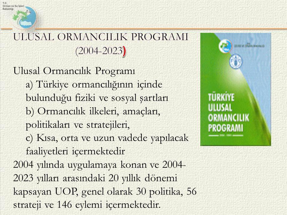 Ulusal Ormancılık Programı a) Türkiye ormancılığının içinde bulunduğu fiziki ve sosyal şartları b) Ormancılık ilkeleri, amaçları, politikaları ve stra