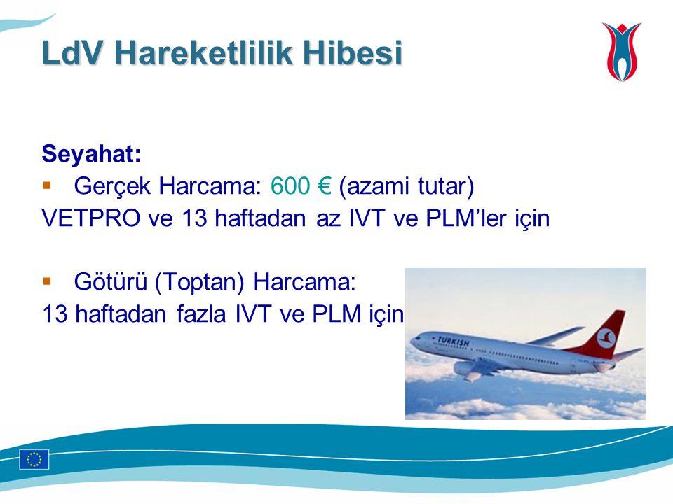 Seyahat:  Gerçek Harcama: 600 € (azami tutar) VETPRO ve 13 haftadan az IVT ve PLM'ler için  Götürü (Toptan) Harcama: 13 haftadan fazla IVT ve PLM iç