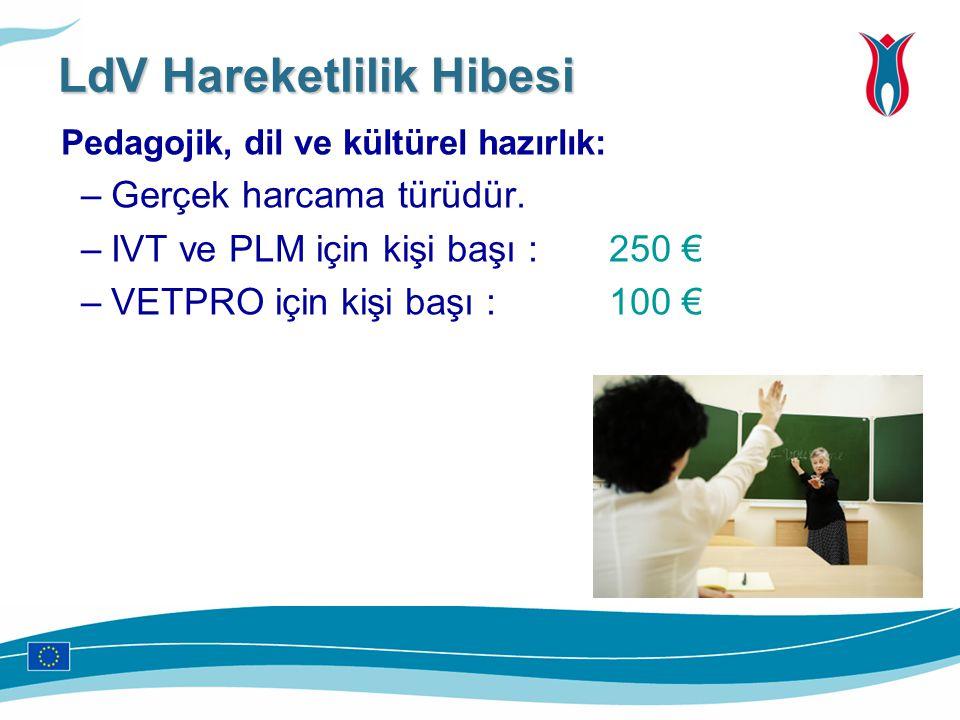Pedagojik, dil ve kültürel hazırlık: –Gerçek harcama türüdür. –IVT ve PLM için kişi başı : 250 € –VETPRO için kişi başı : 100 € LdV Hareketlilik Hibes