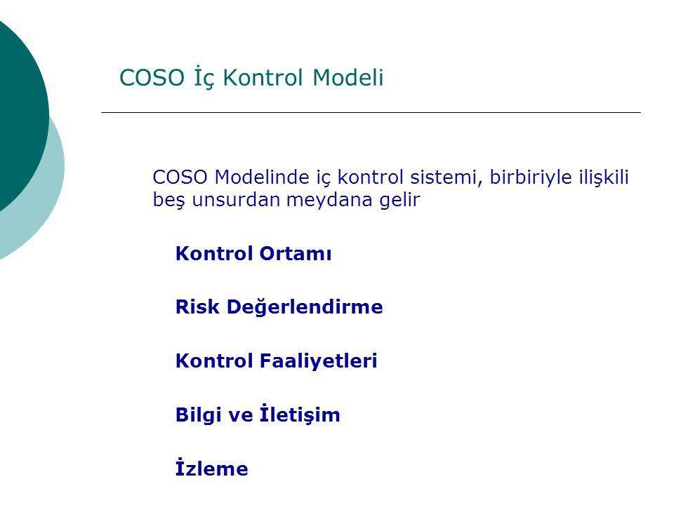COSO İç Kontrol Modeli COSO Modelinde iç kontrol sistemi, birbiriyle ilişkili beş unsurdan meydana gelir Kontrol Ortamı Risk Değerlendirme Kontrol Faaliyetleri Bilgi ve İletişim İzleme
