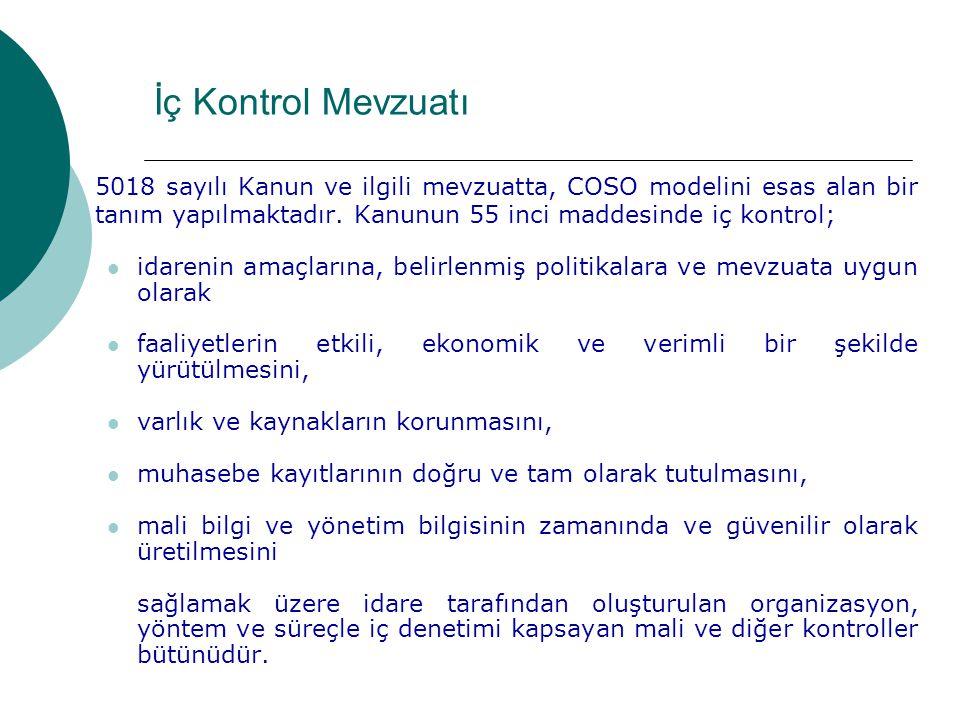 5018 sayılı Kanun ve ilgili mevzuatta, COSO modelini esas alan bir tanım yapılmaktadır.