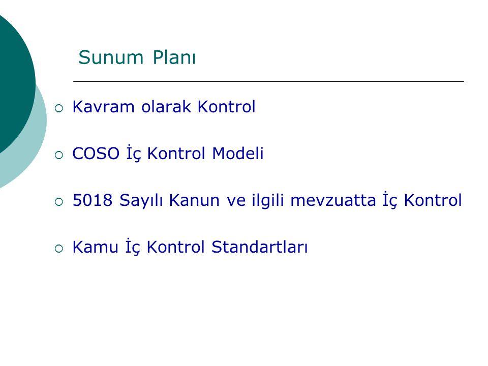 Sunum Planı  Kavram olarak Kontrol  COSO İç Kontrol Modeli  5018 Sayılı Kanun ve ilgili mevzuatta İç Kontrol  Kamu İç Kontrol Standartları