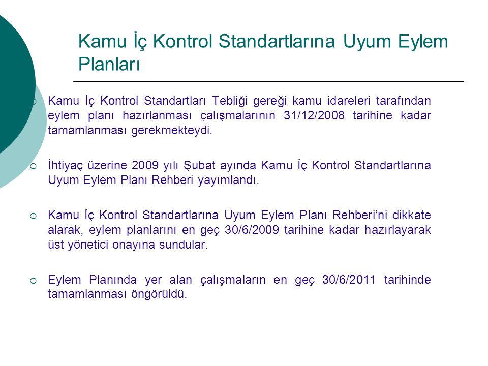  Kamu İç Kontrol Standartları Tebliği gereği kamu idareleri tarafından eylem planı hazırlanması çalışmalarının 31/12/2008 tarihine kadar tamamlanması gerekmekteydi.