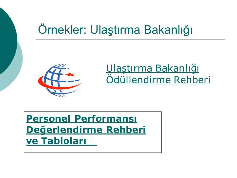 Örnekler: Ulaştırma Bakanlığı Ulaştırma Bakanlığı Ödüllendirme Rehberi Personel Performansı Değerlendirme Rehberi ve Tabloları