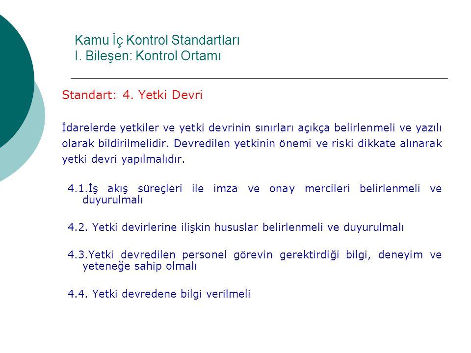 Kamu İç Kontrol Standartları I.Bileşen: Kontrol Ortamı Standart: 4.