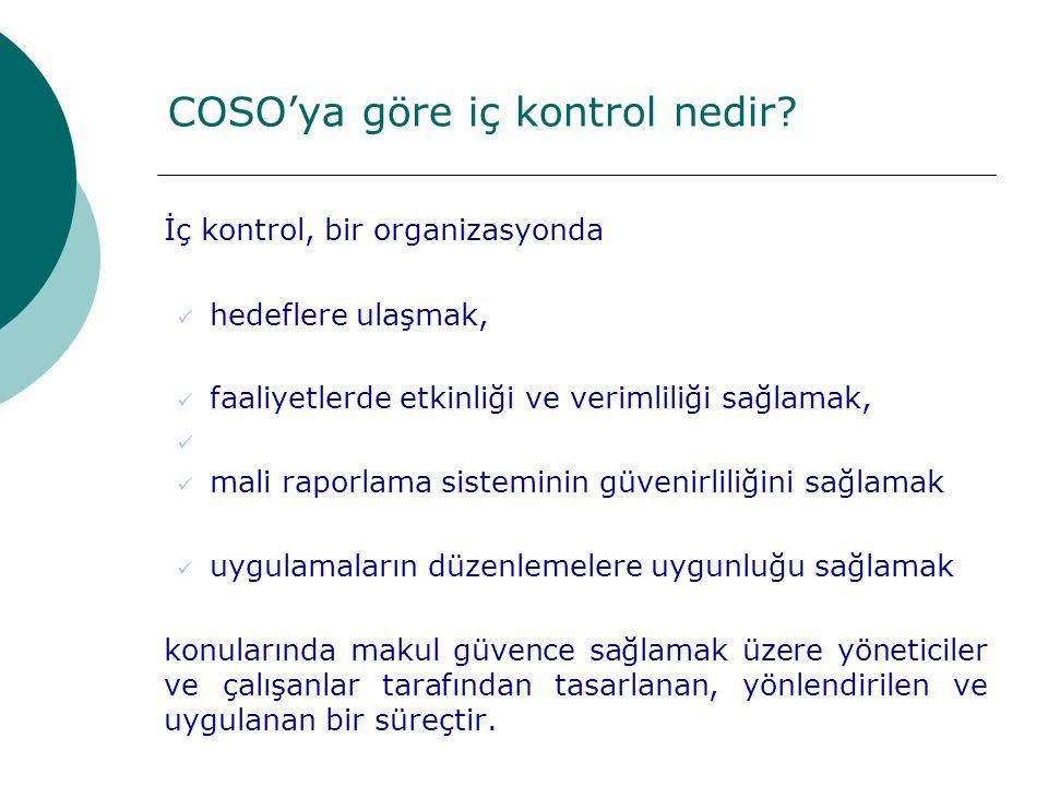 COSO'ya göre iç kontrol nedir.