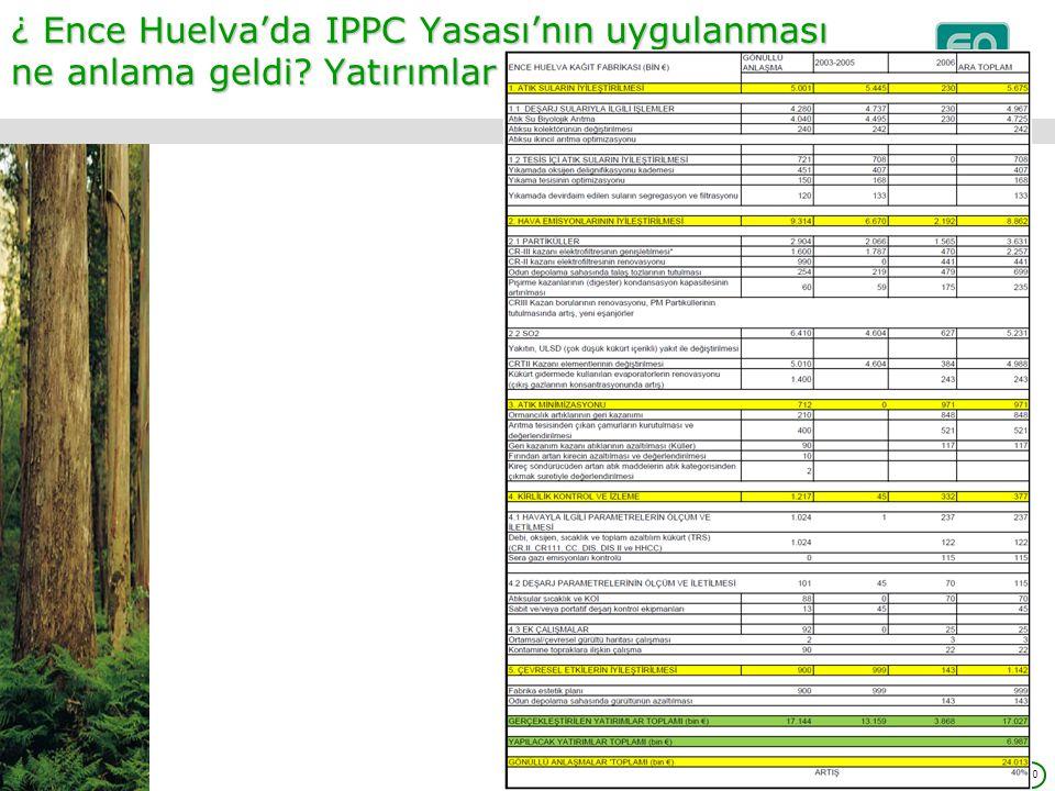 10 ¿ Ence Huelva'da IPPC Yasası'nın uygulanması ne anlama geldi? Yatırımlar