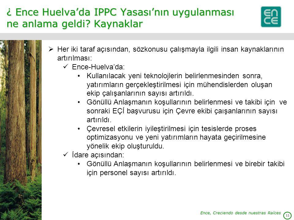 11 ¿ Ence Huelva'da IPPC Yasası'nın uygulanması ne anlama geldi.
