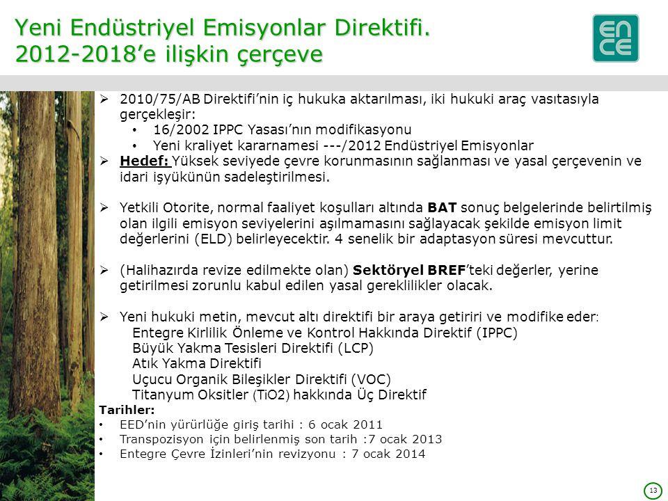 13 Yeni Endüstriyel Emisyonlar Direktifi.