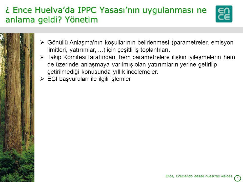 9 ¿ Ence Huelva'da IPPC Yasası'nın uygulanması ne anlama geldi.