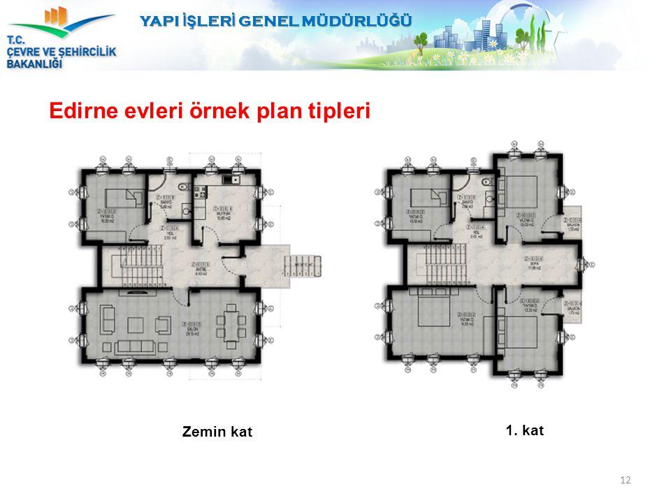 12 YAPI İŞ LER İ GENEL MÜDÜRLÜ Ğ Ü Edirne evleri örnek plan tipleri Zemin kat 1. kat