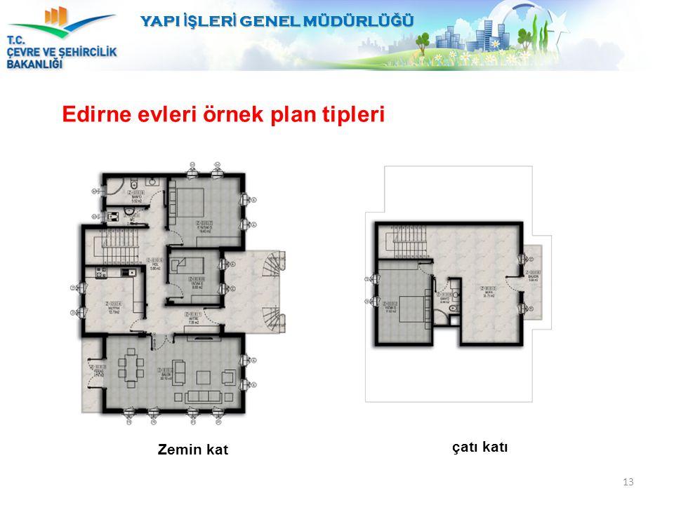 13 Edirne evleri örnek plan tipleri YAPI İŞ LER İ GENEL MÜDÜRLÜ Ğ Ü Zemin kat çatı katı