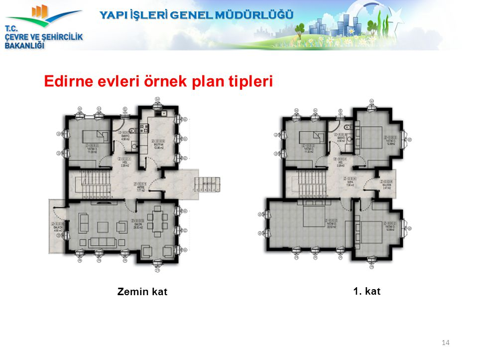 14 Edirne evleri örnek plan tipleri YAPI İŞ LER İ GENEL MÜDÜRLÜ Ğ Ü Zemin kat 1. kat