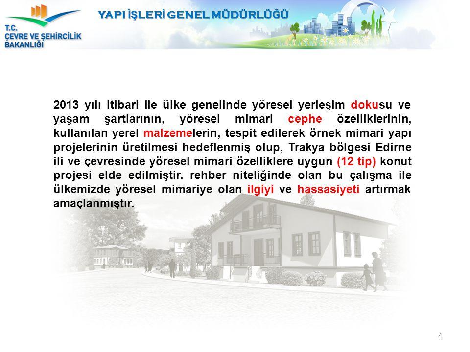 4 2013 yılı itibari ile ülke genelinde yöresel yerleşim dokusu ve yaşam şartlarının, yöresel mimari cephe özelliklerinin, kullanılan yerel malzemeleri