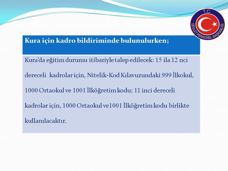 Kura için kadro bildiriminde bulunulurken; Kura'da eğitim durumu itibariyle talep edilecek: 15 ila 12 nci dereceli kadrolar için, Nitelik-Kod Kılavuzu