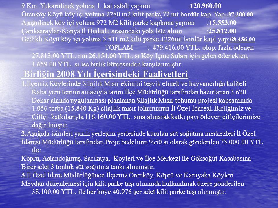 9 Km. Yukarıdinek yoluna 1. kat asfalt yapımı : 120.960.00 Örenköy Köyü köy içi yoluna 2280 m2 kilit parke,72 mt bordür kap. Yap.:37.200.00 Aşağıdinek