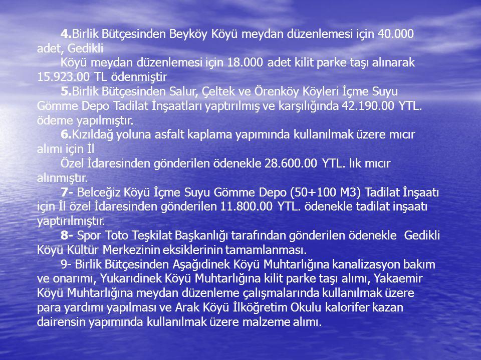 4.Birlik Bütçesinden Beyköy Köyü meydan düzenlemesi için 40.000 adet, Gedikli Köyü meydan düzenlemesi için 18.000 adet kilit parke taşı alınarak 15.92