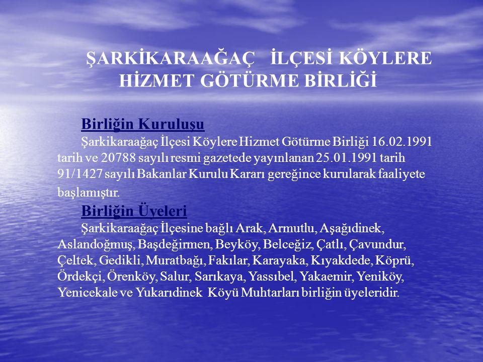 4.Birlik Bütçesinden Beyköy Köyü meydan düzenlemesi için 40.000 adet, Gedikli Köyü meydan düzenlemesi için 18.000 adet kilit parke taşı alınarak 15.923.00 TL ödenmiştir 5.Birlik Bütçesinden Salur, Çeltek ve Örenköy Köyleri İçme Suyu Gömme Depo Tadilat İnşaatları yaptırılmış ve karşılığında 42.190.00 YTL.