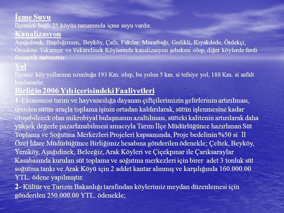 İçme Suyu İlçemize bağlı 25 köyün tamamında içme suyu vardır. Kanalizasyon Aşağıdinek, Başdeğirmen, Beyköy, Çatlı, Fakılar, Muratbağı, Gedikli, Kıyakd