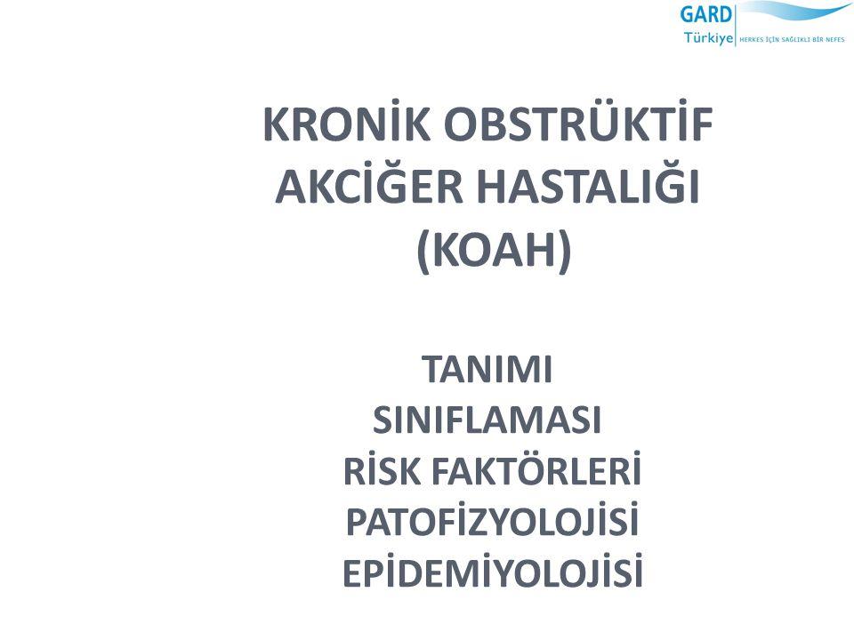 TÜRKİYEDE KOAH EPİDEMİYOLOJİSİ TC: Sağlık Bakanlığı-Başkent Üniversitesi işbirliğinde yapılan 2004 Hastalık Yükü Çalışmasına göre KOAH insidansı yüzbinde 72,7 KOAH prevalansı ise binde 10,2 KOAH tüm ölüm nedenleri arasında 3.