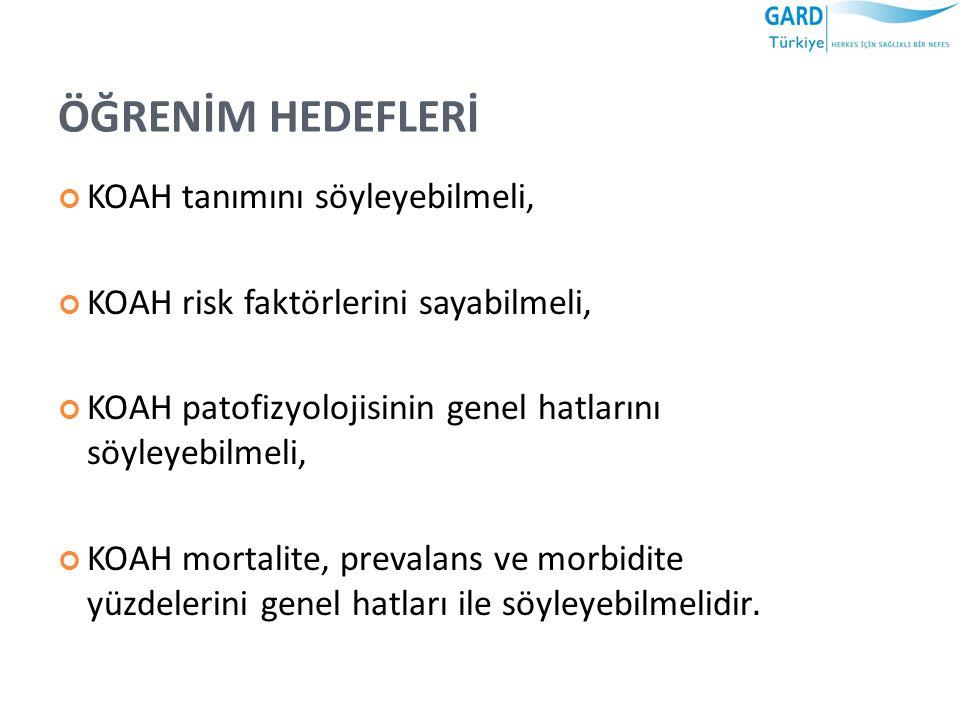 TÜRKİYEDE KOAH EPİDEMİYOLOJİSİ Adana ilinde yapılan BOLD-Türkiye çalışmasında 40 yaş üstü yetişkinlerin %19,6'sında (erkeklerde %28 ve kadınlarda %10,3) KOAH varlığı