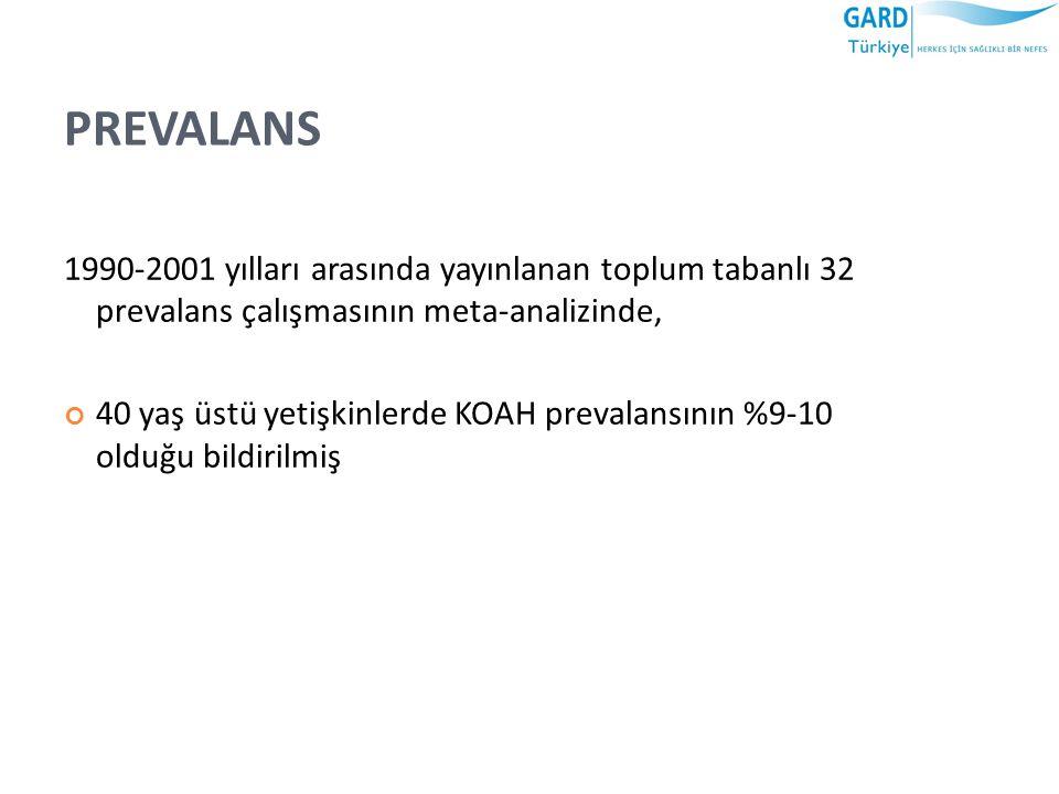 PREVALANS 1990-2001 yılları arasında yayınlanan toplum tabanlı 32 prevalans çalışmasının meta-analizinde, 40 yaş üstü yetişkinlerde KOAH prevalansının