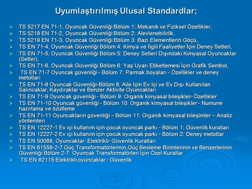 Uyumlaştırılmış Ulusal Standardlar;  TS 5217 EN 71-1, Oyuncak Güvenliği Bölüm 1: Mekanik ve Fiziksel Özellikler,  TS 5218 EN 71-2, Oyuncak Güvenliği