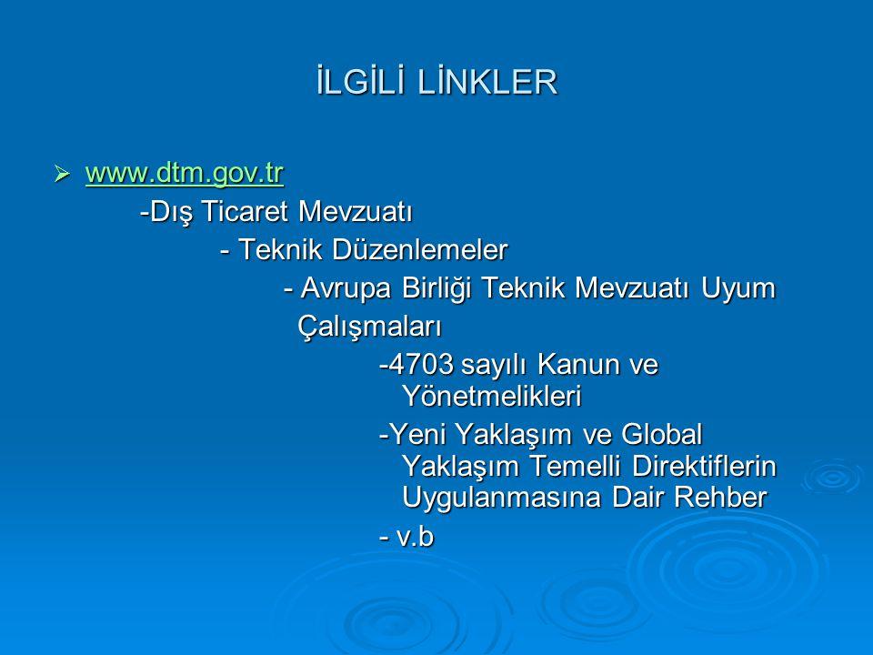İLGİLİ LİNKLER  www.dtm.gov.tr www.dtm.gov.tr -Dış Ticaret Mevzuatı -Dış Ticaret Mevzuatı - Teknik Düzenlemeler - Teknik Düzenlemeler - Avrupa Birliğ