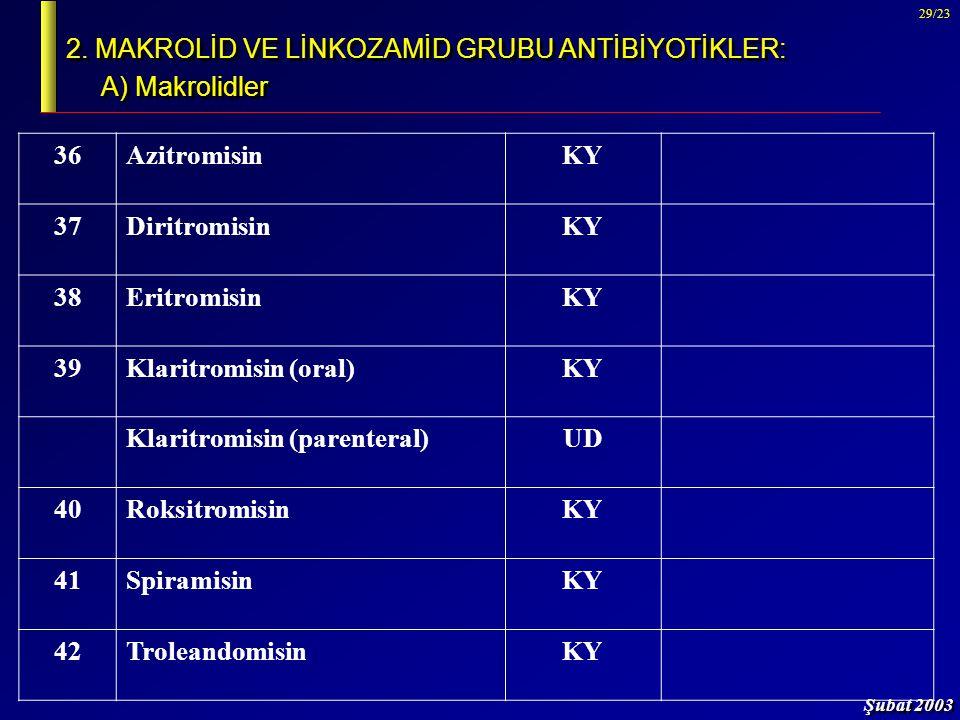 Şubat 2003 29/23 2. MAKROLİD VE LİNKOZAMİD GRUBU ANTİBİYOTİKLER: A) Makrolidler 36AzitromisinKY 37DiritromisinKY 38EritromisinKY 39Klaritromisin (oral