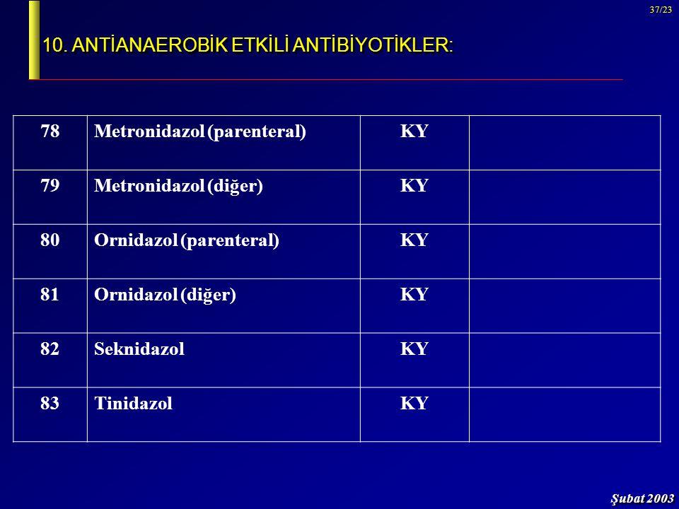 Şubat 2003 37/23 10. ANTİANAEROBİK ETKİLİ ANTİBİYOTİKLER: 78Metronidazol (parenteral)KY 79Metronidazol (diğer)KY 80Ornidazol (parenteral)KY 81Ornidazo