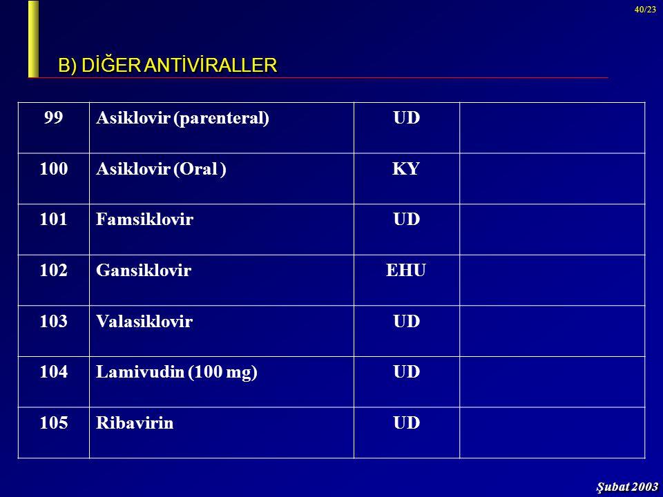Şubat 2003 40/23 B) DİĞER ANTİVİRALLER 99Asiklovir (parenteral)UD 100Asiklovir (Oral )KY 101FamsiklovirUD 102GansiklovirEHU 103ValasiklovirUD 104Lamiv