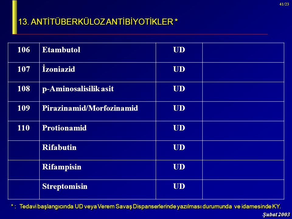 Şubat 2003 41/23 13. ANTİTÜBERKÜLOZ ANTİBİYOTİKLER * 106EtambutolUD 107İzoniazidUD 108p-Aminosalisilik asitUD 109Pirazinamid/MorfozinamidUD 110Protion
