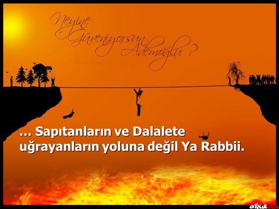 … Sapıtanların ve Dalalete uğrayanların yoluna değil Ya Rabbii.