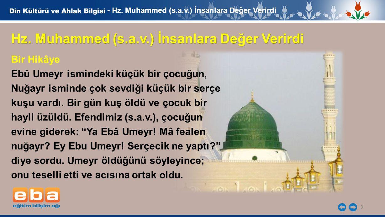 3 - Hz. Muhammed (s.a.v.) İnsanlara Değer Verirdi Hz. Muhammed (s.a.v.) İnsanlara Değer Verirdi Bir Hikâye Ebû Umeyr ismindeki küçük bir çocuğun, Nuğa