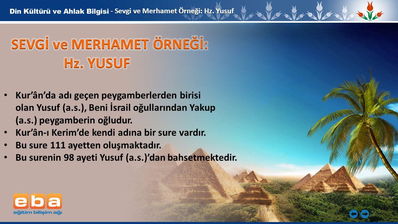 2 Kur'ân'da adı geçen peygamberlerden birisi olan Yusuf (a.s.), Beni İsrail oğullarından Yakup (a.s.) peygamberin oğludur. Kur'ân-ı Kerim'de kendi adı