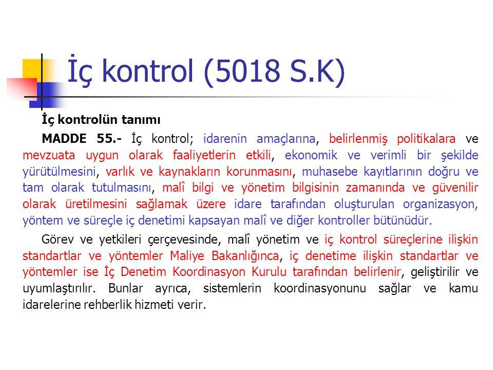 İç kontrol (5018 S.K) İç kontrolün tanımı MADDE 55.- İç kontrol; idarenin amaçlarına, belirlenmiş politikalara ve mevzuata uygun olarak faaliyetlerin