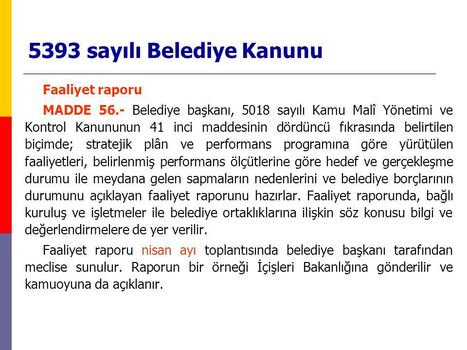 5393 sayılı Belediye Kanunu Faaliyet raporu MADDE 56.- Belediye başkanı, 5018 sayılı Kamu Malî Yönetimi ve Kontrol Kanununun 41 inci maddesinin dördün