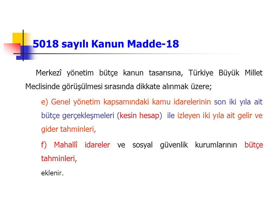 5018 sayılı Kanun Madde-18 Merkezî yönetim bütçe kanun tasarısına, Türkiye Büyük Millet Meclisinde görüşülmesi sırasında dikkate alınmak üzere; e) Gen