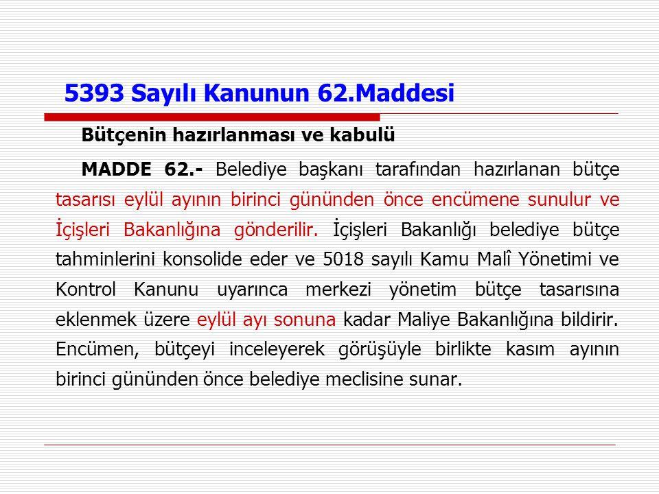 5393 Sayılı Kanunun 62.Maddesi Bütçenin hazırlanması ve kabulü MADDE 62.- Belediye başkanı tarafından hazırlanan bütçe tasarısı eylül ayının birinci g