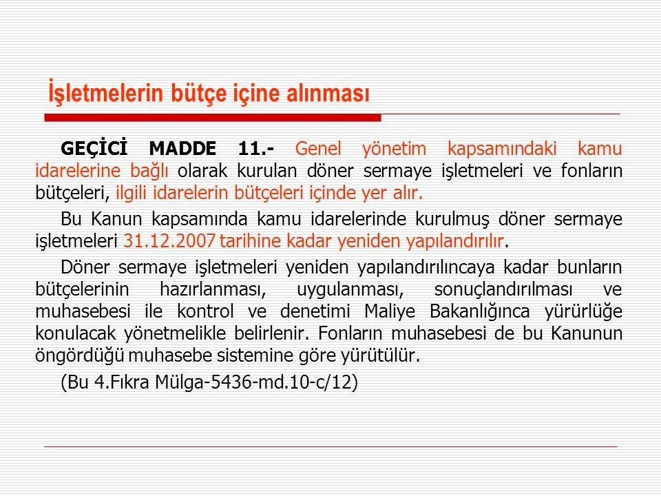 İşletmelerin bütçe içine alınması GEÇİCİ MADDE 11.- Genel yönetim kapsamındaki kamu idarelerine bağlı olarak kurulan döner sermaye işletmeleri ve fonl