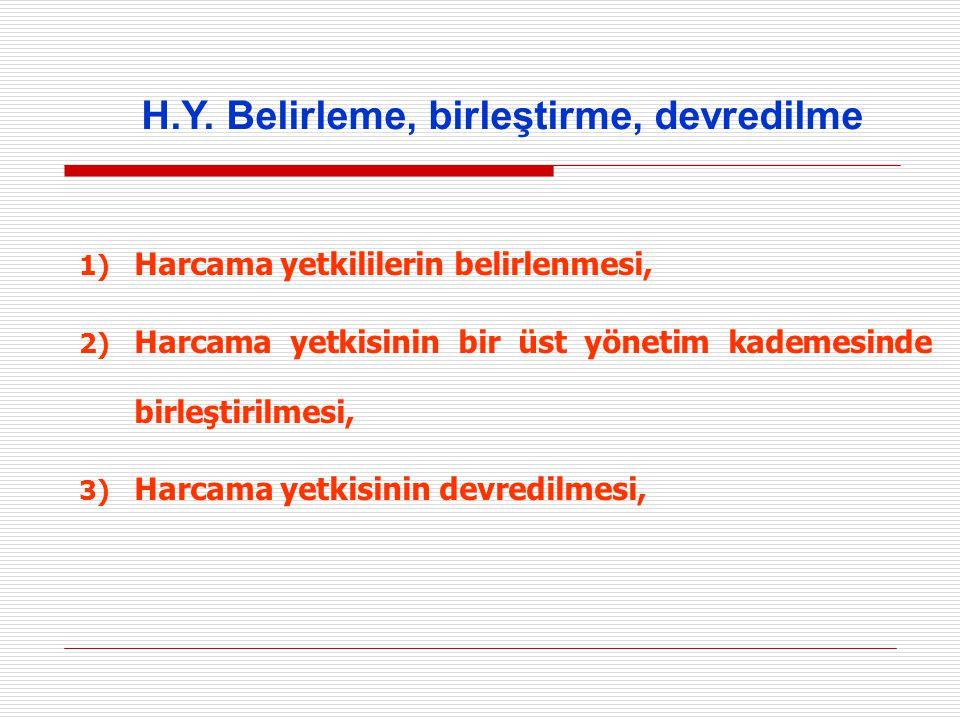 1) Harcama yetkililerin belirlenmesi, 2) Harcama yetkisinin bir üst yönetim kademesinde birleştirilmesi, 3) Harcama yetkisinin devredilmesi, H.Y. Beli