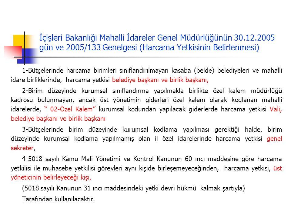 İçişleri Bakanlığı Mahalli İdareler Genel Müdürlüğünün 30.12.2005 gün ve 2005/133 Genelgesi (Harcama Yetkisinin Belirlenmesi) 1-Bütçelerinde harcama b