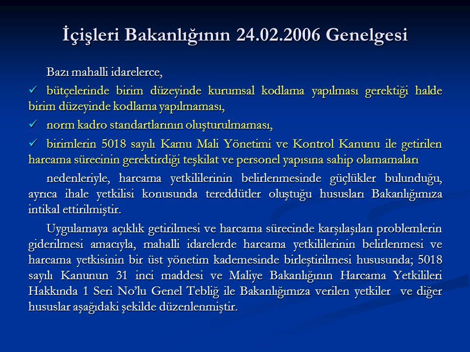 İçişleri Bakanlığının 24.02.2006 Genelgesi Bazı mahalli idarelerce, bütçelerinde birim düzeyinde kurumsal kodlama yapılması gerektiği halde birim düze