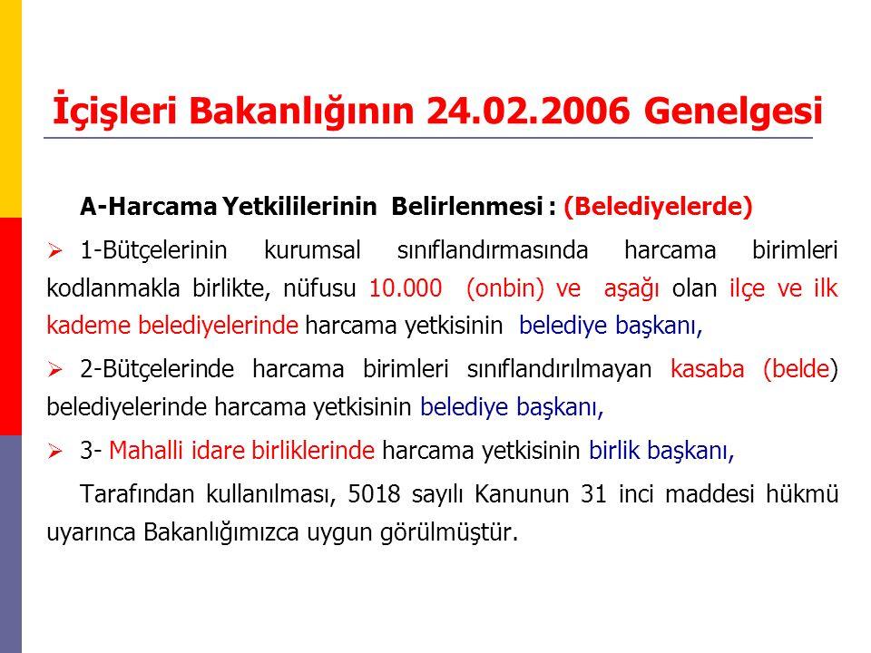 İçişleri Bakanlığının 24.02.2006 Genelgesi A-Harcama Yetkililerinin Belirlenmesi : (Belediyelerde)  1-Bütçelerinin kurumsal sınıflandırmasında harcam